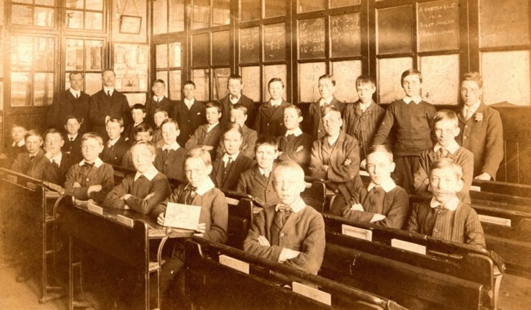 Boys In Schoolroom Sepia 1900 1920