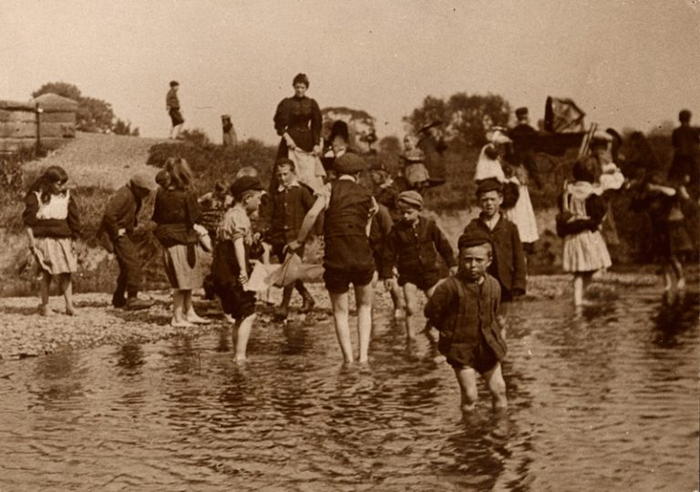 Children In River Petteril Carlisle 1890 To 1899
