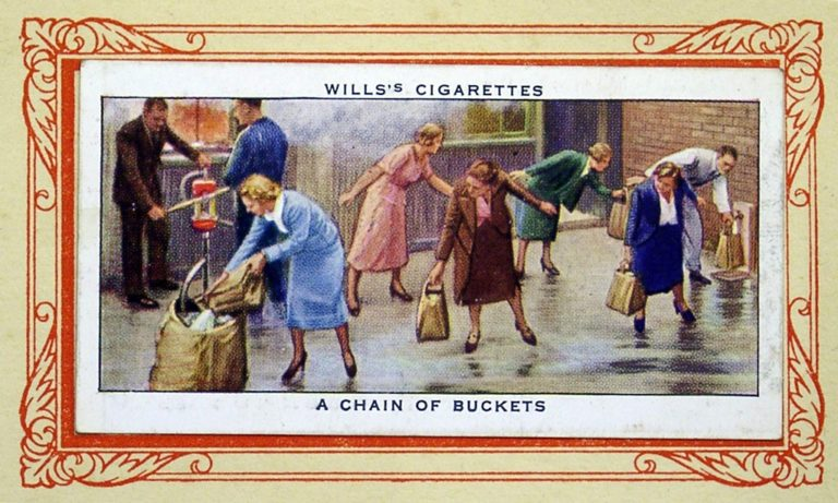 Cigarette Card In War Chain Of Buckets