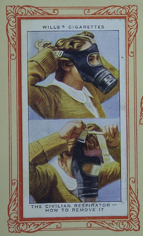 Cigarette Card In War Gas Mask Female