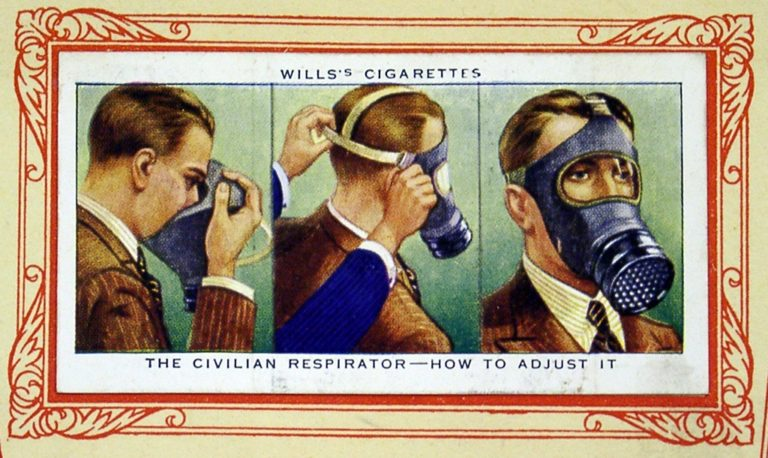 Cigarette Card In War Gas Mask Instructions