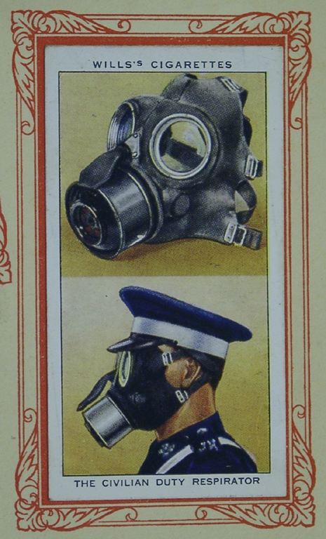Cigarette Card In War Gas Mask Uniform