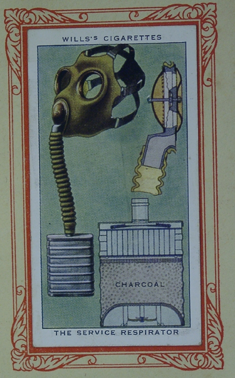 Cigarette Card In War Gas Mask