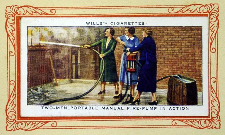Cigarette Card In War Ladies Fire Pump
