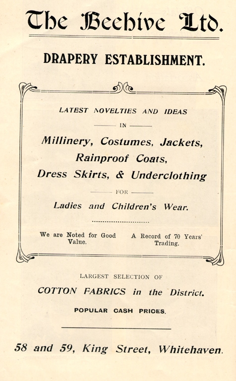 Clothes Beehive Draper Advert 1912