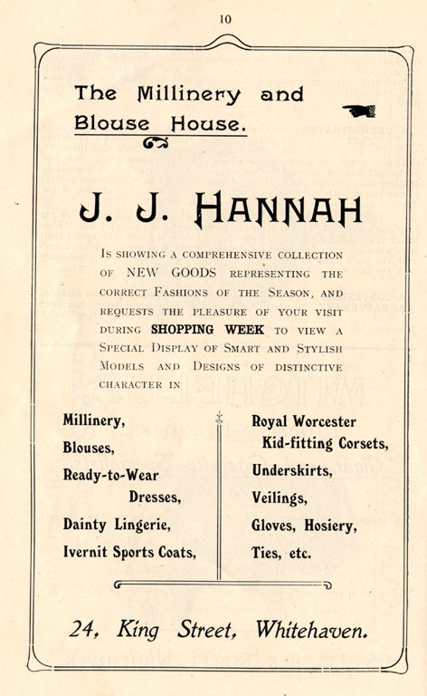 Clothes JJ Hannah Clothing Advert 1912