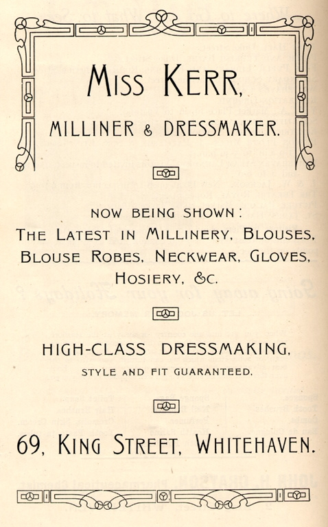 Clothes Miss Kerr Dressmaker Advert 1912