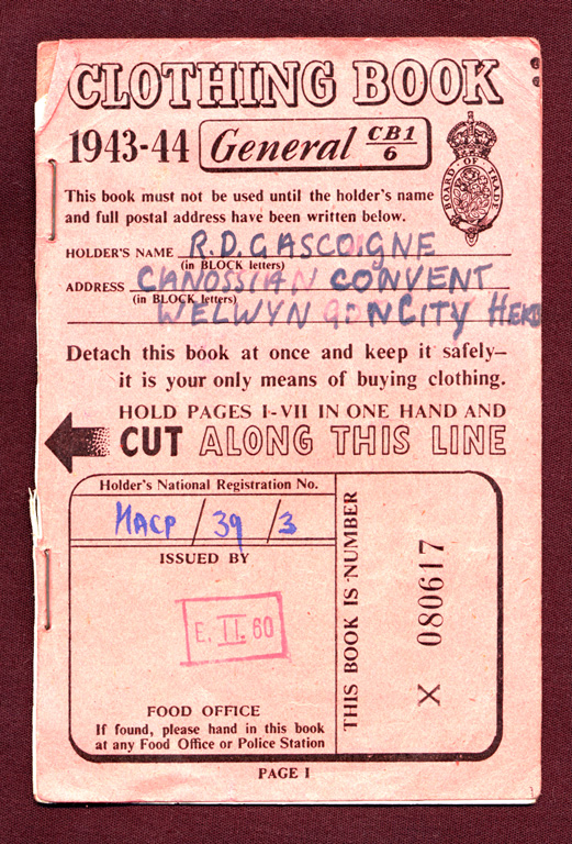 Clothing Ration Book Front 1943 1944