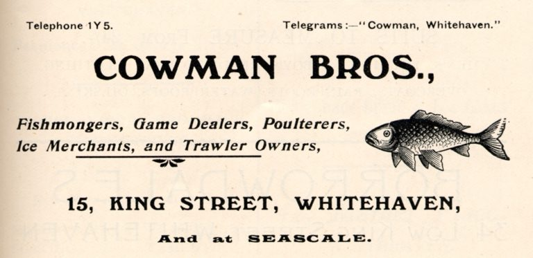 Cowman Bros Fishmongers Advert 1912