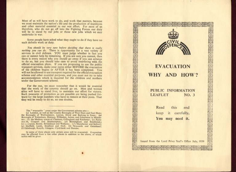 Evacuation In War Why And How Public Informaton Leaflet 1939 P1