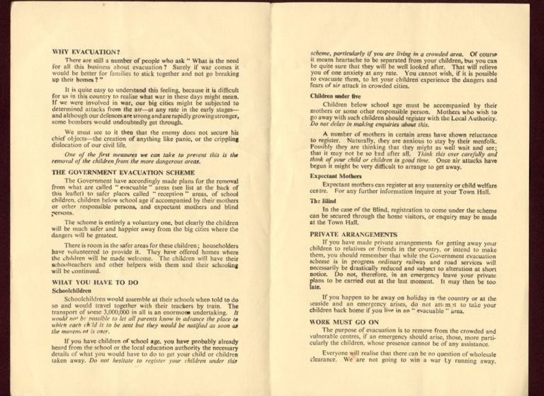 Evacuation In War Why And How Public Informaton Leaflet 1939 P2