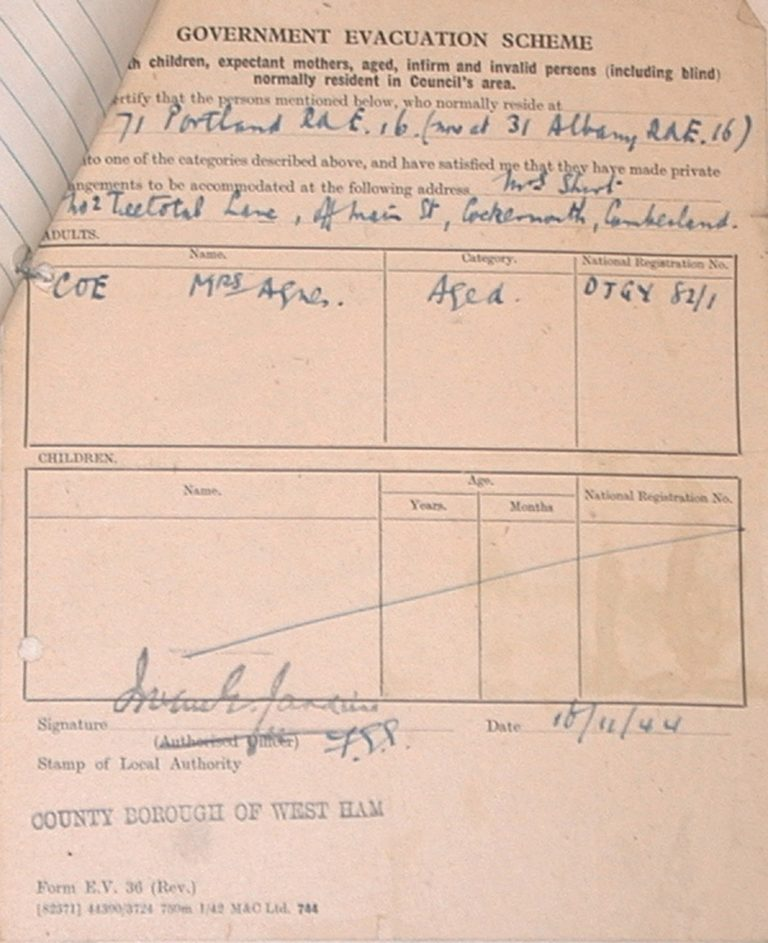 Evacuation In War Certificate Child From West Ham To Cockermouth