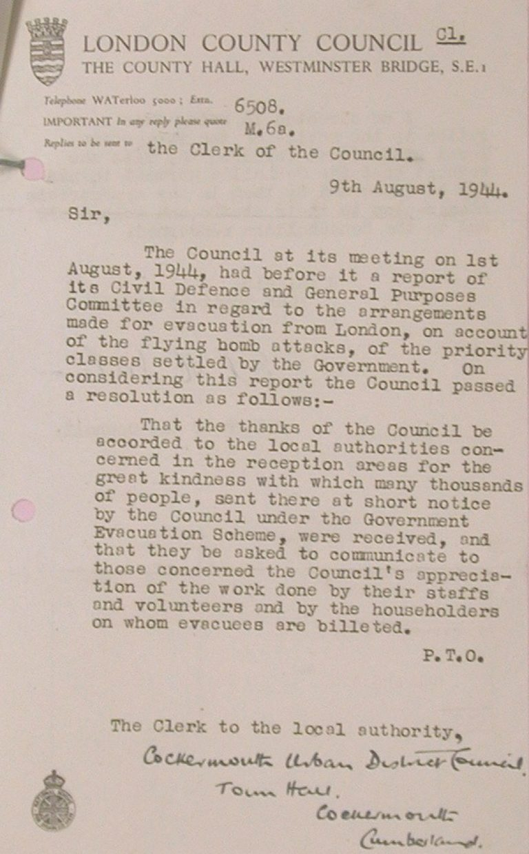 Evacuation In War Letter Westminster 1944