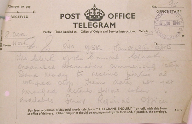 Evacuation In War To Cockermouth Telegram 1944