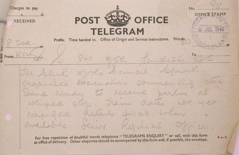 Evacuation In War To Cockermouth Telegram 1944