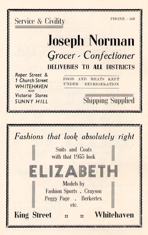 Grocer And Clothes Shop Advert 1955ptr