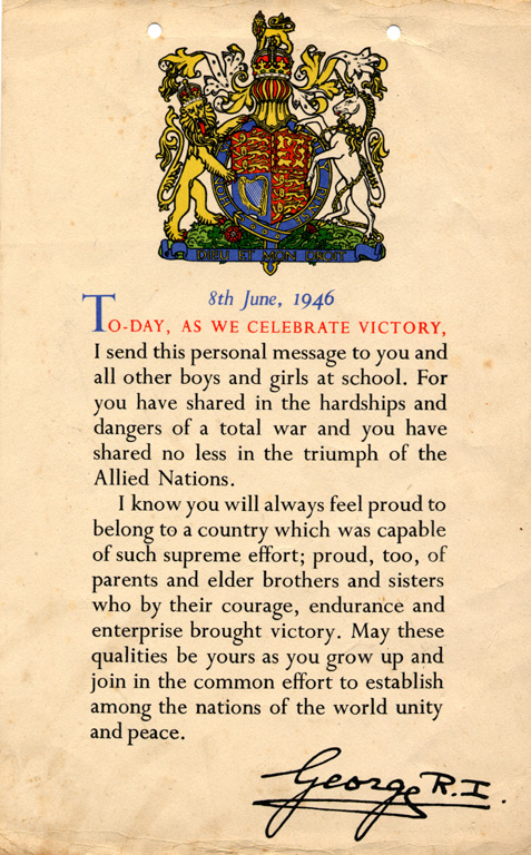 King George Message To Children Front 1946