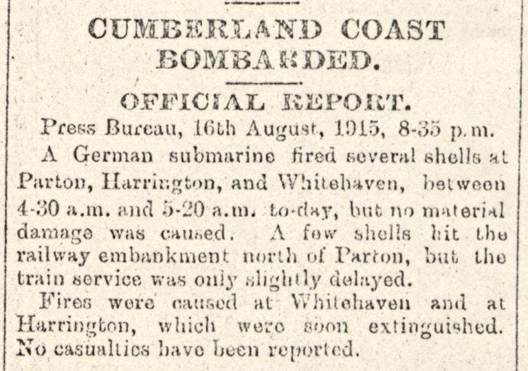 Lowca Cumberland Coast Bombarded War 1915