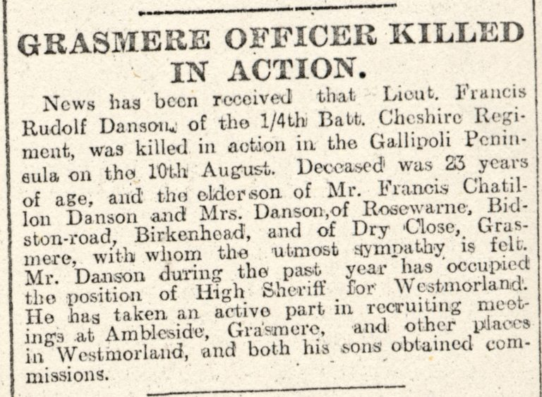 Lowca Grasmere Officer Killed In War Action
