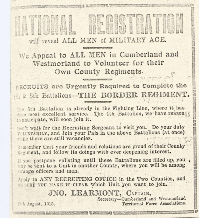 Lowca National Registration Advert For Military War Service 1915