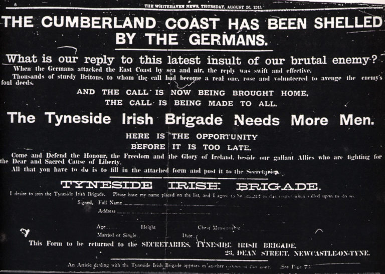 Lowca Tynside Irish Brigade Advert To Join For War 1915