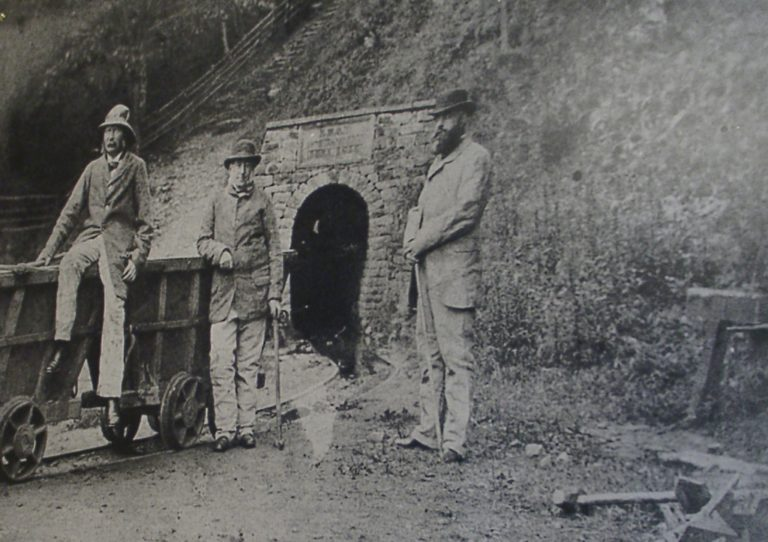 Mining 3 Men At Pit Entrance
