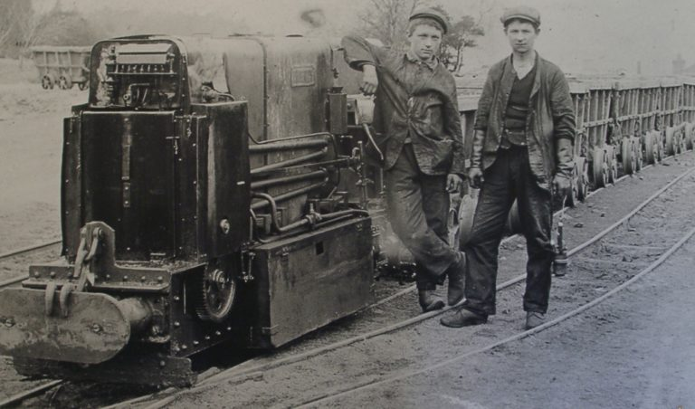 Mining Hoppers On Train Engine 2 Young Lads