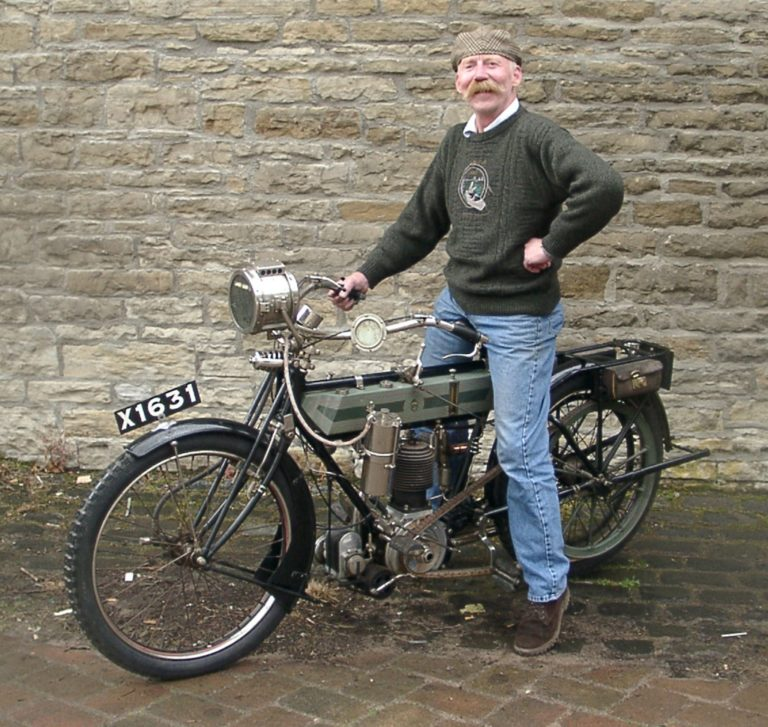 Motorbike 1912 With Man From Museum2