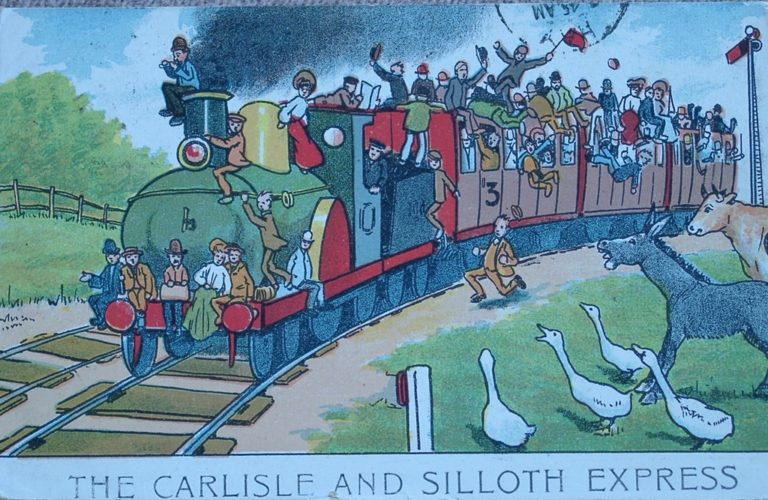 Postcard Carlisle To Silloth Express Cartoon
