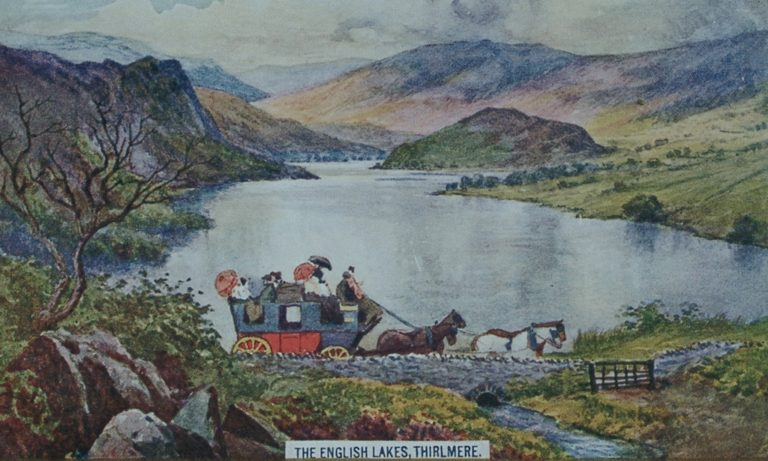 Postcard Thirlmere Coach And Four Horses