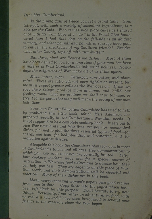 Ration Advice For Mrs Cumberland During The War