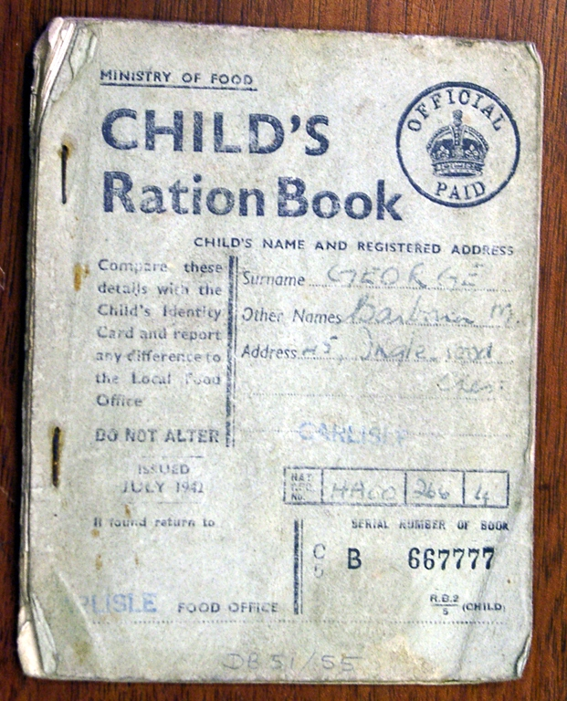 Ration Book For A Child During The War 1942