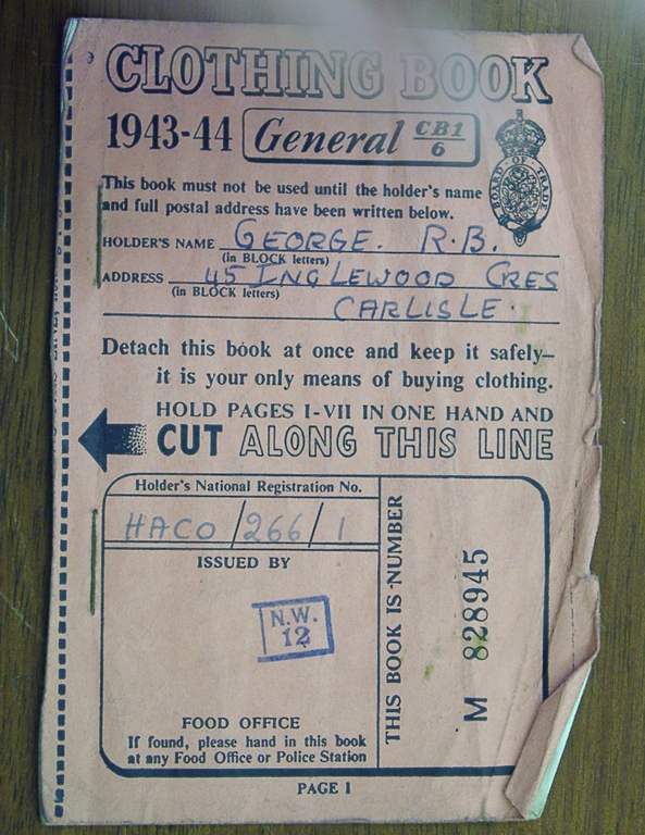 Ration Book For Clothes During The War 1943