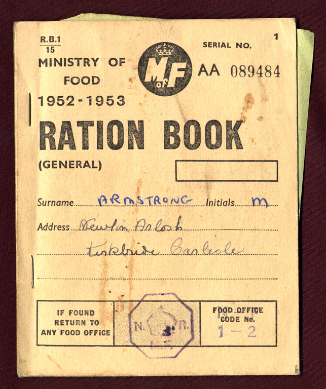 Ration Book Front After The War 1952 1953 Kirkbride Carlisle