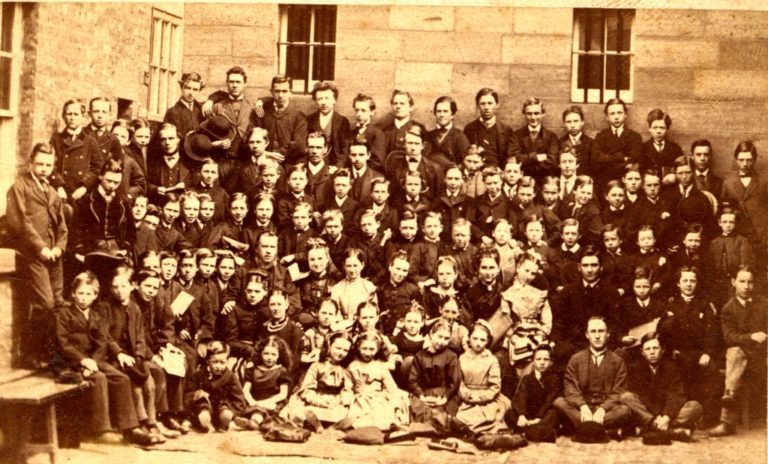 Schoolchildren Large Group Of 1885