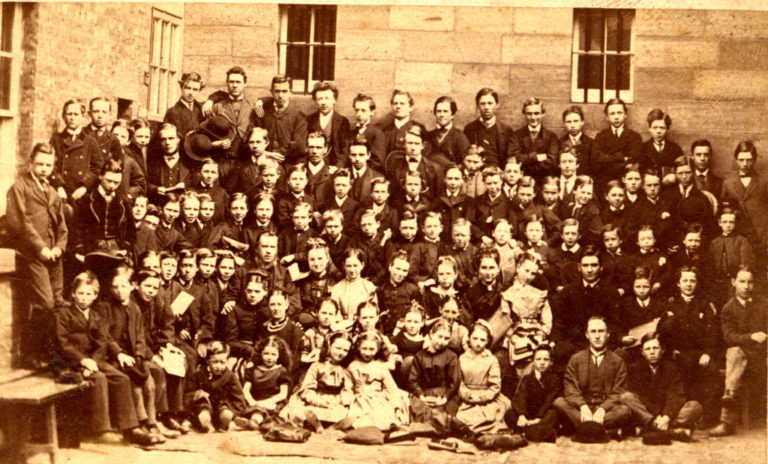 Schoolchildren Large Group Of 1885 89