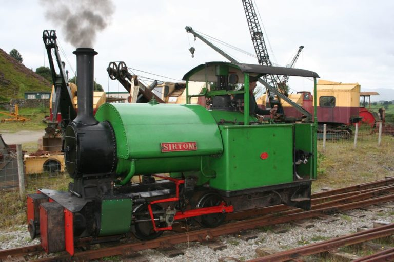 Sir Tom loco train and the excavators Threlkeld Quarry