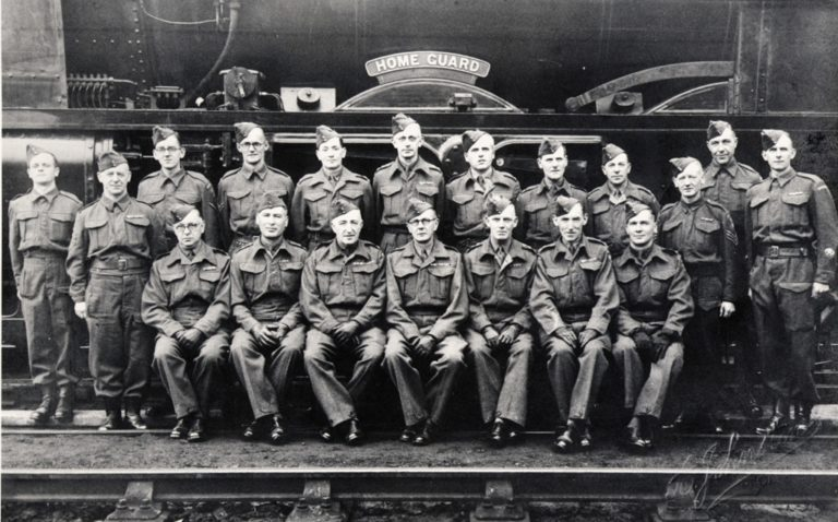 War Home Guard Company With Railway Locomotive Home Guard 1945 Railway