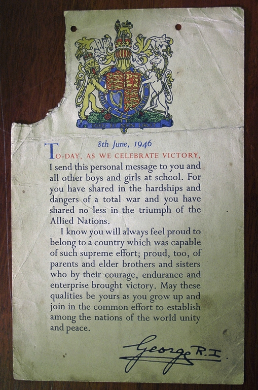War Victory In Europe VE Day 8th June 1946 Letter From King To Children At School Including Evacuation