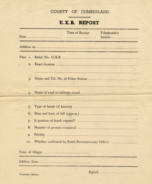 Wartime Unexploded Bomb Report Form Blank