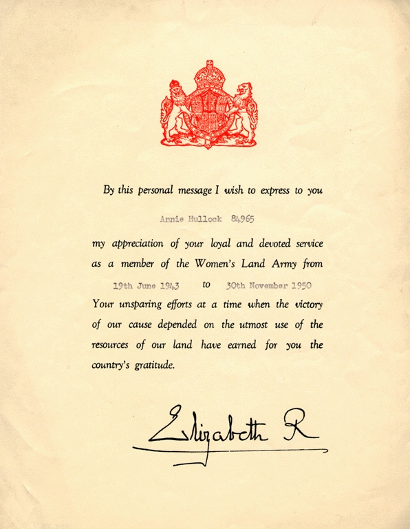 Womens Land Army Certificate